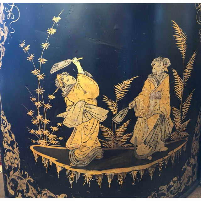 Black Chinoiserie Tole Tea Canisters - a Pair For Sale - Image 8 of 11