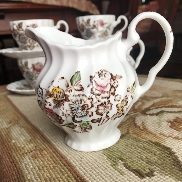 Brown Staffordshire Bouquet England Tea / Coffee Set - 11 Piece For Sale - Image 8 of 9