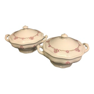 1920s Rosenthal Covered Tureens Side Dish Servers - a Pair For Sale