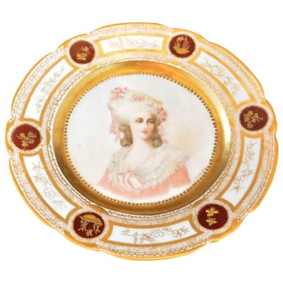 19th Century French Sevres Painted & Gilt Portrait Plate Haviland Numbered For Sale
