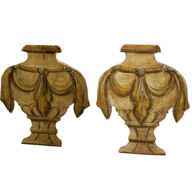 Antique carved wood standing urn panels from France. Circa 1900.