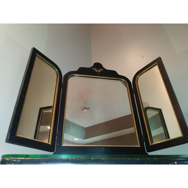 Stickley Stickley Bros. Vanity W/ Tri Fold Mirror & Chair For Sale - Image 4 of 13