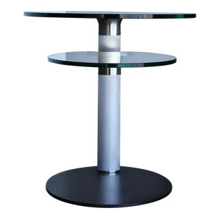 1980s Vintage Postmodern Stainless Steel and Glass Occasional Table For Sale
