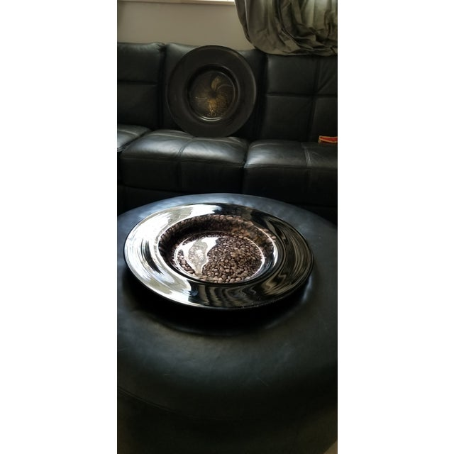 Black & Gold Murano Art Glass Plate For Sale - Image 4 of 12
