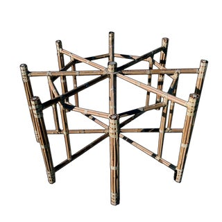 1990s Boho Chic Large McGuire Octagonal Bamboo and Rattan Dining Table Base For Sale