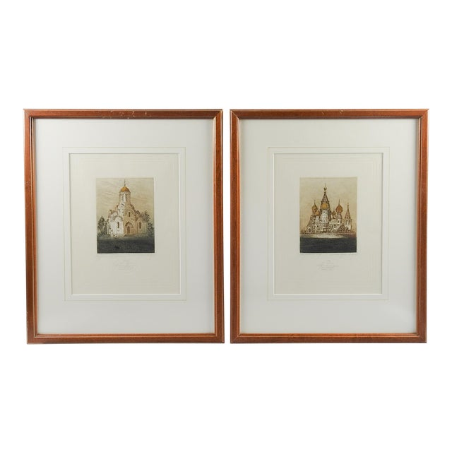 Russian Orthodox Churches Etchings - A Pair For Sale