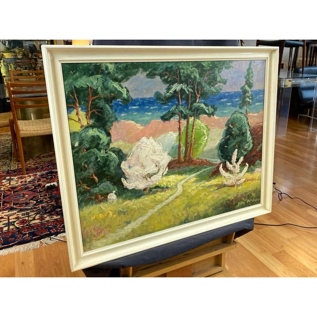"""Paint Jens Aabo """"Danish Coastal Pathway"""", Impressionist Oil Painting, 1956 For Sale - Image 7 of 13"""