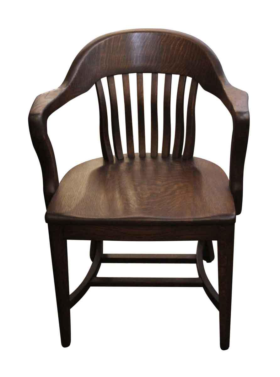 Merveilleux Antique Refinished Oak Banker Chair   Image 2 Of 4