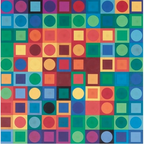 "Print of Victor Vasarely's ""Planetarische Folklore"". The piece is a 1969 silkscreen serigraph with a geometric pattern..."