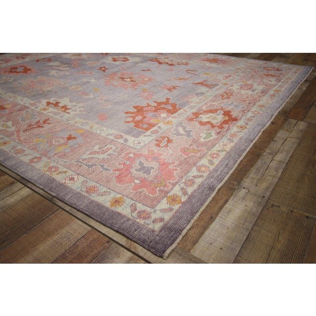 Abstract Expressionism Contemporary Turkish Oushak Rug With Modern Colors - 8′ × 9′7″ For Sale - Image 3 of 9