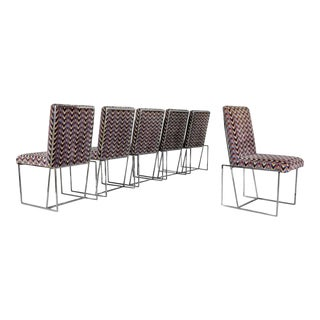 1970s Milo Baughman Style Chrome Dining Chairs - Set of 6 For Sale