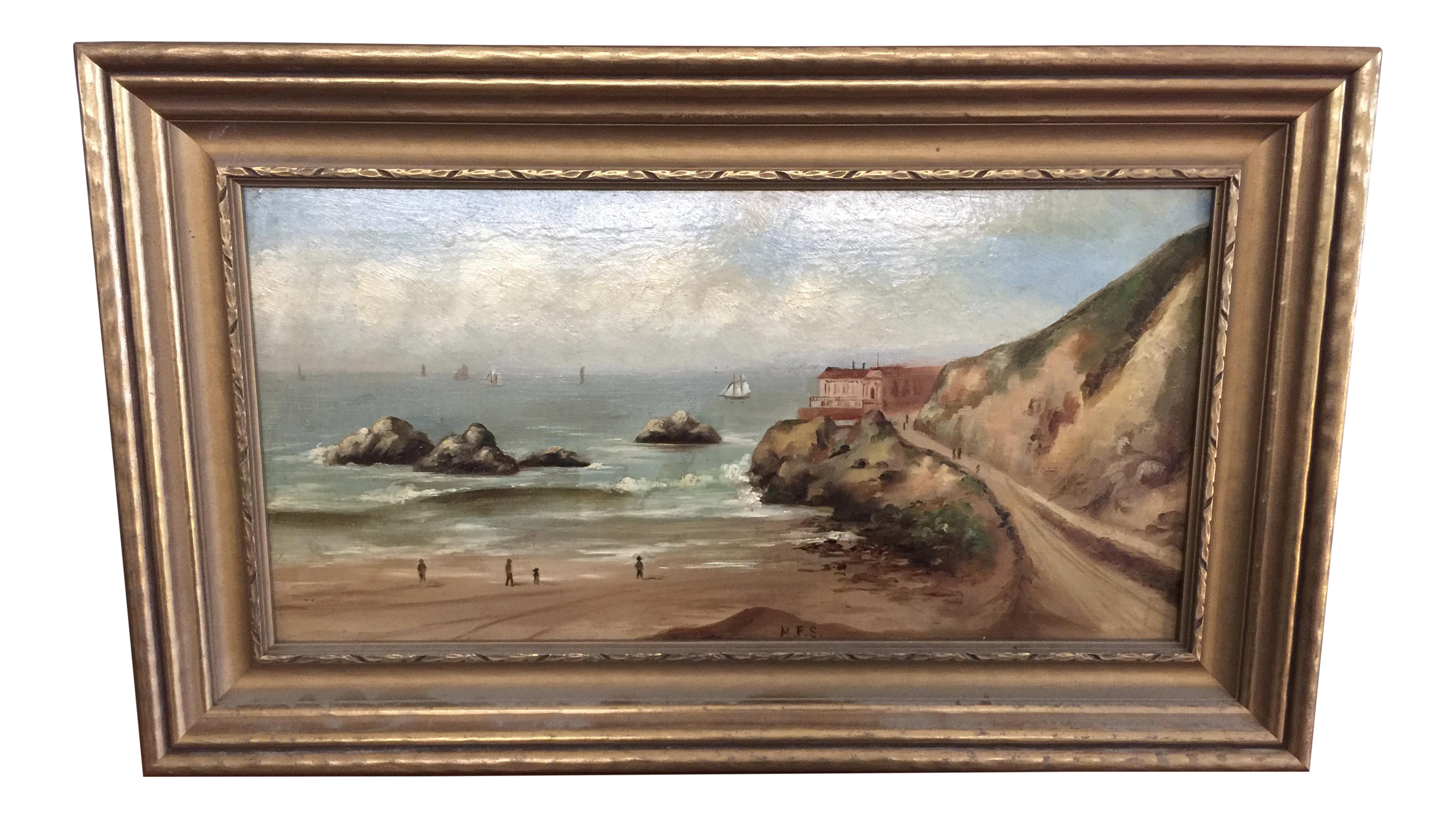Good C. 1870 Oil Painting Cliff House San Francisco