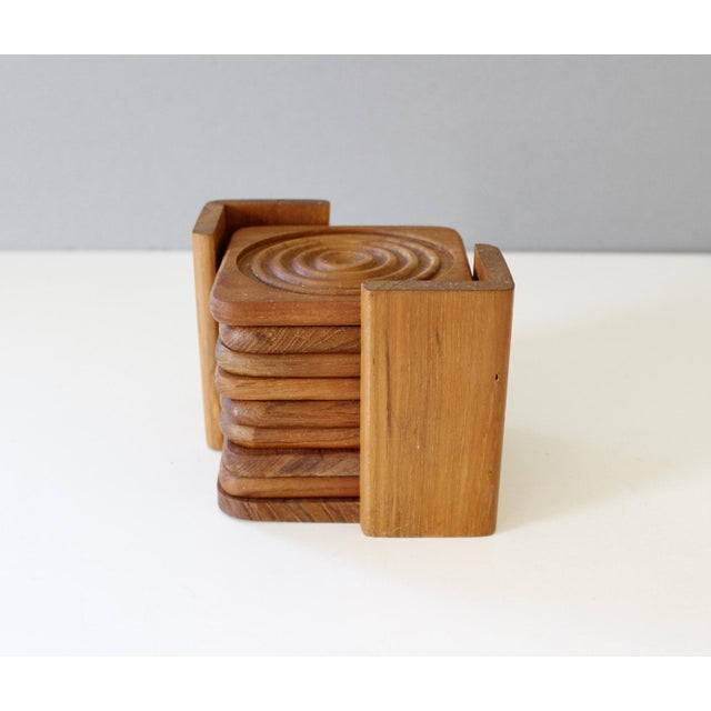 Danish Modern Dolphin Teak Coasters with Caddy - Set of 8 - Image 2 of 6