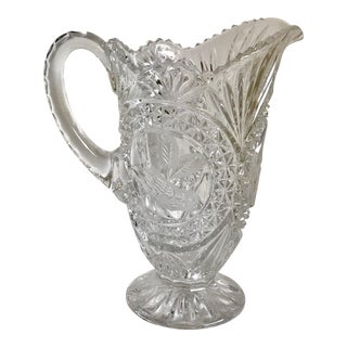 Mid-Century Crystal Cut Glass Bird Pitcher For Sale