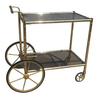 Mid Century Brass Faux Bamboo Form Bar Cart For Sale