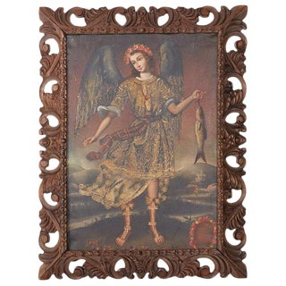 Peruvian Spanish Colonial Cuzco School Style Religious Painting For Sale