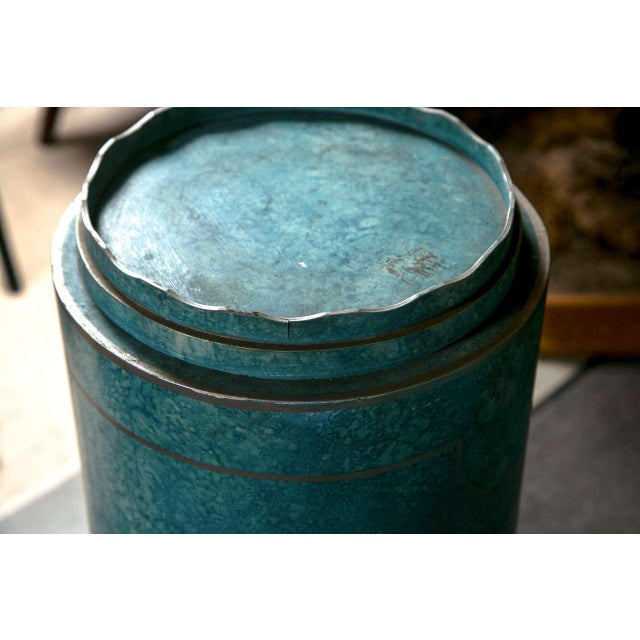Boho Chic Blue Painted Pedestals - A Pair For Sale - Image 3 of 8