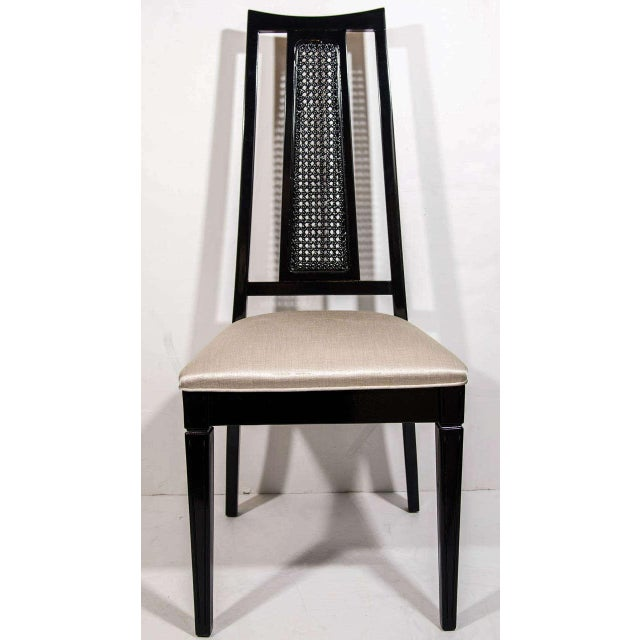 Set 4 Mid Century Modern Cane Back Dining Chairs Attributed To John Stuart