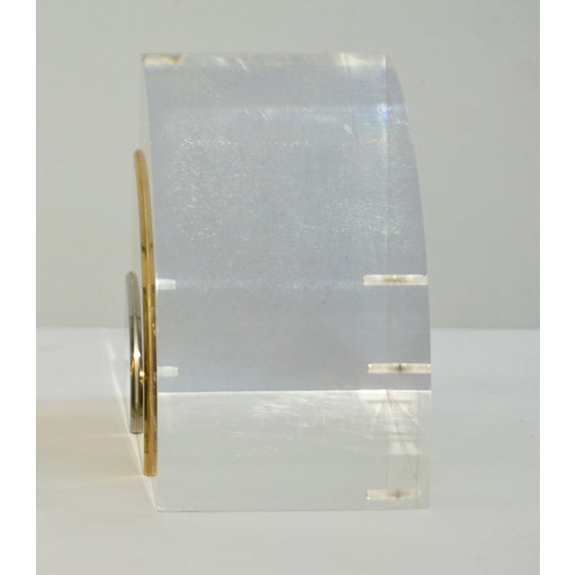 1970 Italian Brass Nickel Lucite Bookends - a Pair For Sale - Image 9 of 11
