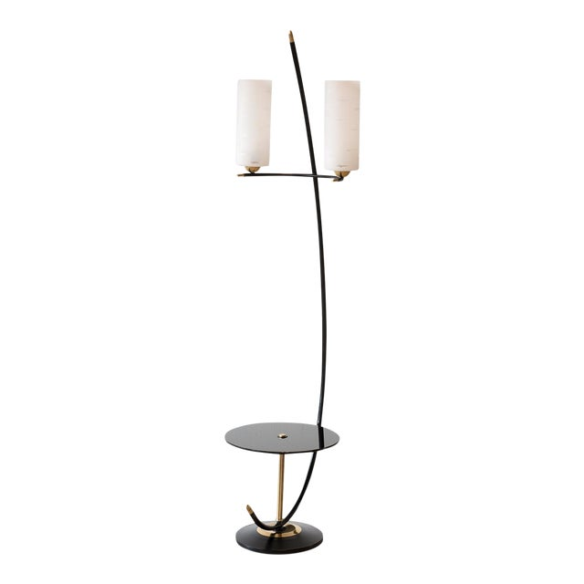 French Floor Lamp in Brass and Black Lacquer with Etched Glass Diffusers, 1950s For Sale