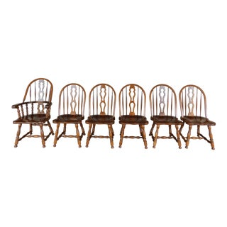 Er Buck Maple Hoop Back Windsor English Style Chairs - Set of 6 For Sale
