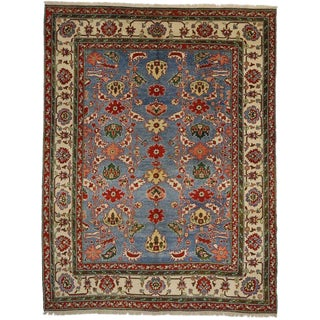 "20th Century Turkish Blue Oushak Rug, Modern Living Room Rug - 9'4"" X 12'2"" For Sale"