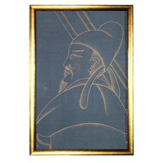 Metallic Gold Paint on Blue Silk Chinoiserie Diptych Paintings - 2 Pieces Preview