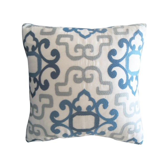 Blue & White Greek Pillow For Sale