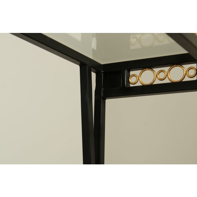 Hollywood Regency Style Black & Gold Glass Top Console Table For Sale - Image 12 of 13