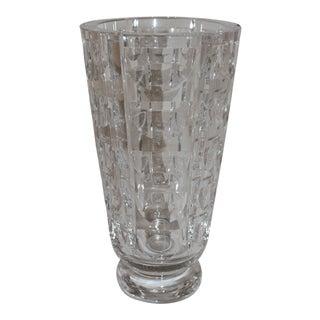 """Thousand Windows"" Cut Glass Vase For Sale"