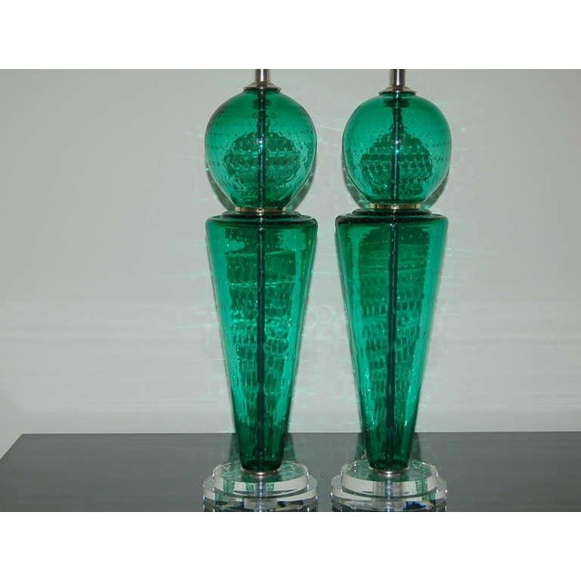 Italian Vintage Murano Glass Table Lamps Green For Sale - Image 3 of 10
