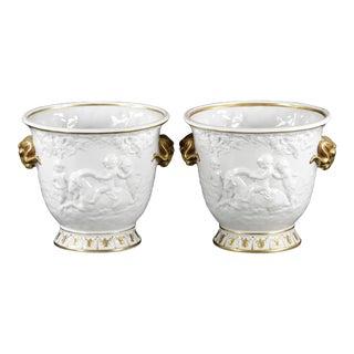 Capodimonte Cache Pots Classical White Porcelain With Gilt Decoration - a Pair For Sale
