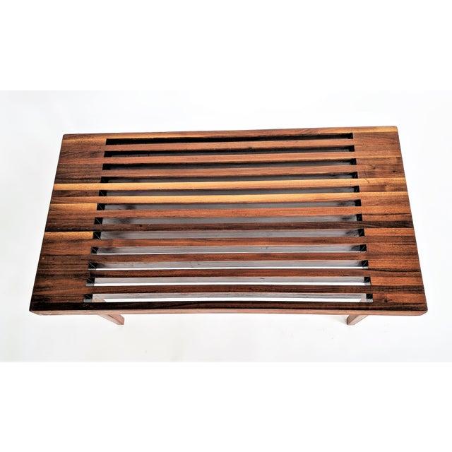 Mid Century Modern Wooden Slat Bench - Image 4 of 9