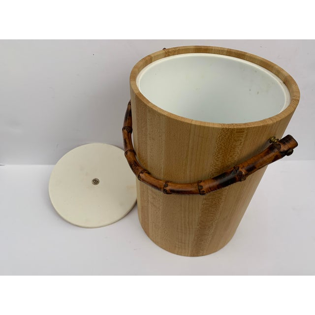 MCM Vinyl and Bamboo Ice Bucket Set For Sale - Image 11 of 13