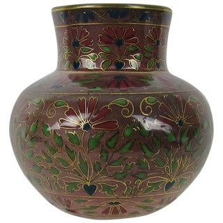 Victorian Zsolnay Pecs Porcelain Faience Vase in Jewel Toned Cloisonne-Style For Sale