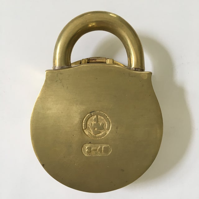 Mid-Century Virginia Metalcrafters Solid Brass Padlock Ashtray/Catchall For Sale - Image 9 of 13