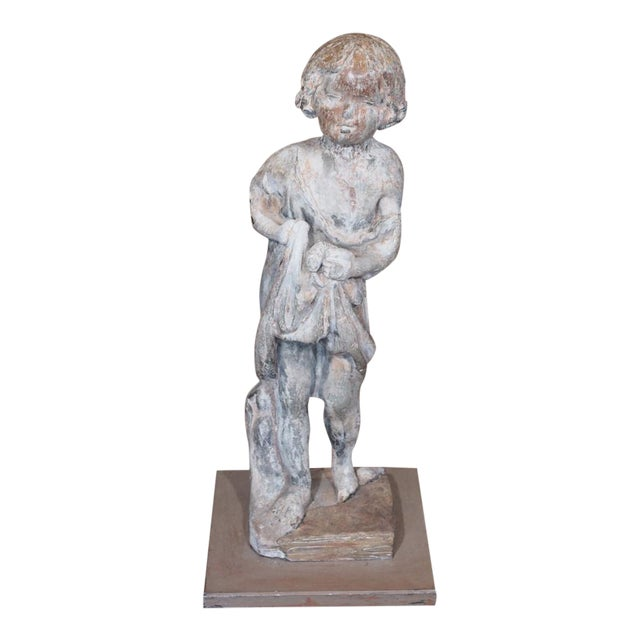 19th Century French Lead Statue of a Young Girl For Sale