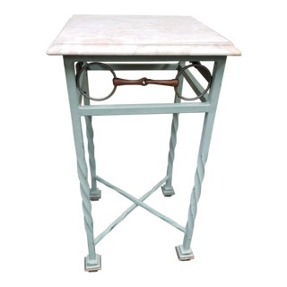 20th Century American Classical Iron and Marble Equestrian Themed Table For Sale