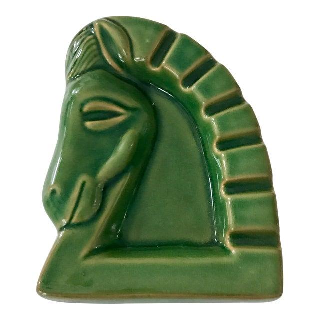Art Deco Green Ceramic Glazed Horse Sculpture - Image 1 of 5