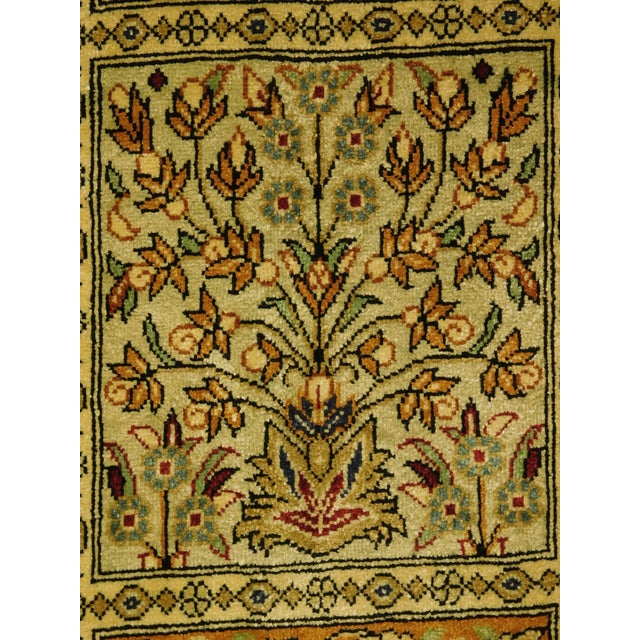 """Hand Knotted Pure Silk Persian Qom Rug - 4'10"""" x 4'10"""" - Image 8 of 9"""