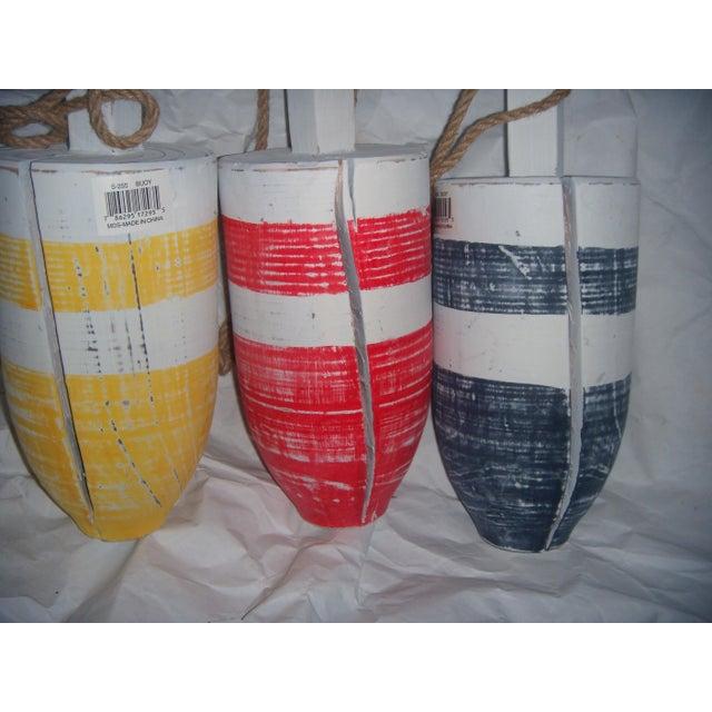 Primary-Stripe Wood Buoys - Set of 3 - Image 3 of 5
