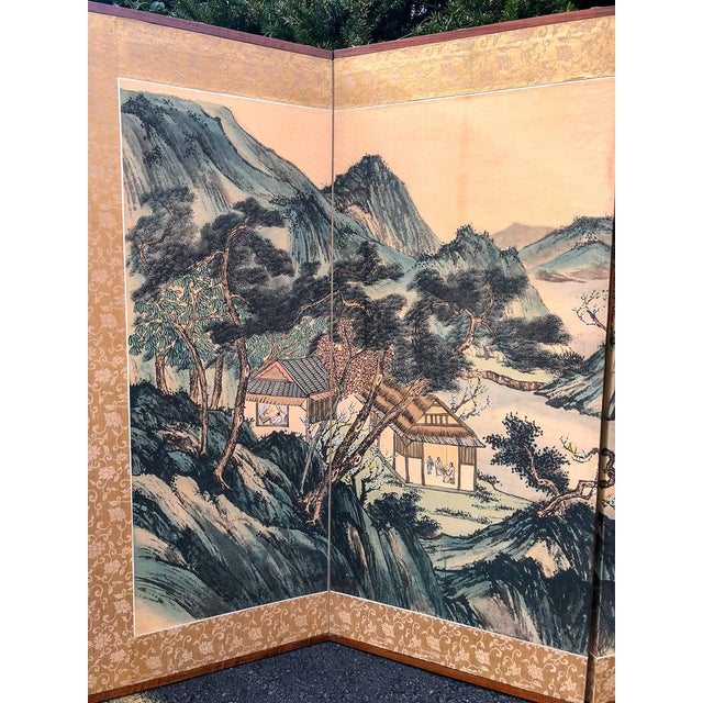 Silk Vintage Silk Asian Folding Screen For Sale - Image 7 of 10