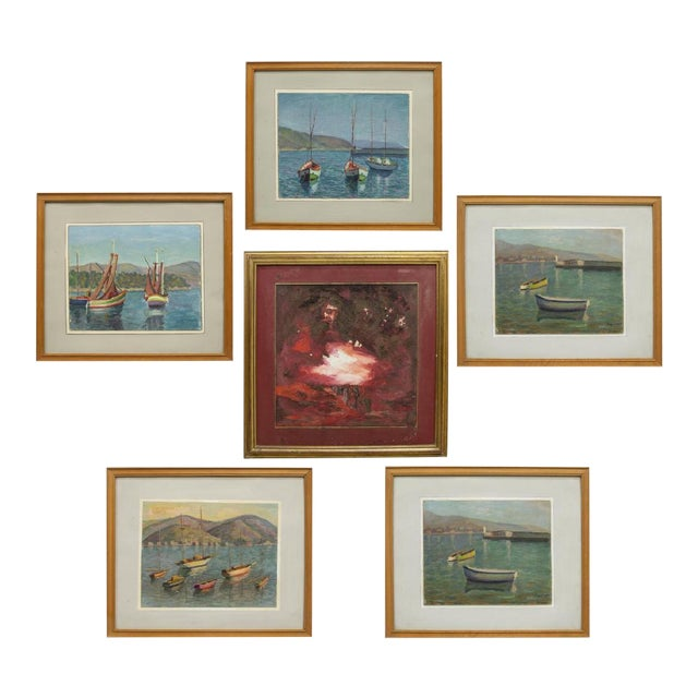 1970s Sailing Impressionist Style and Abstract Framed Paintings - Set of 7 For Sale