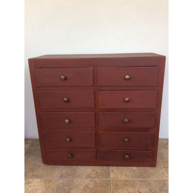 Red 1960s Shabby Chic Wooden 10-Drawer Cabinet For Sale - Image 8 of 8