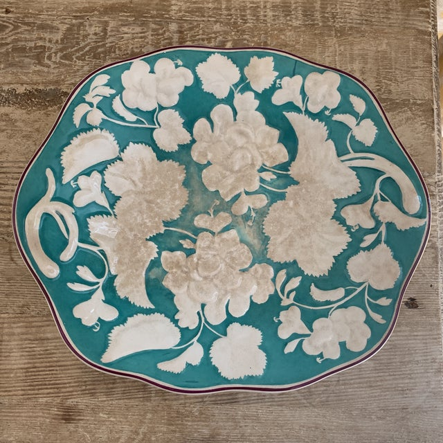 English Antique 1860 English Davenport Majolica Geranium Patter Footed Platter For Sale - Image 3 of 9