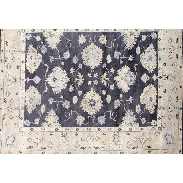 """Traditional Traditional Pasargad N Y Original Oushak Design Hand-Knotted Rug - 8'1"""" X 9'10"""" For Sale - Image 3 of 5"""
