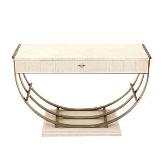 White Pickled Oak Finish Brass U-Shape Base Console Table For Sale