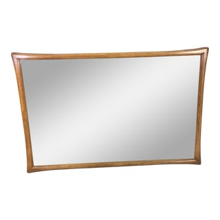 1960s Pecan Wood Large Wall Mirror