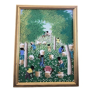 Late 20th Century Framed Haitian Painting For Sale