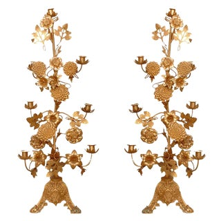 Pair of Gilt Bronze Candelabras For Sale
